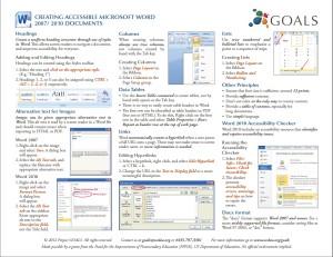 Screen Shot of MS Word Cheat Sheet