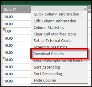 Download results is highlighted in the drop down menu