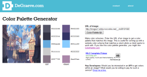 This is a screenshot of a color palette generator website. It currently shows a purple color palette.