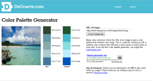 This is a screenshot of a color palette generator website. It currently shows a beach color palette.