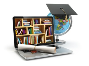 Educatio Laptop with books, globe, graduation cap and diploma. 3d