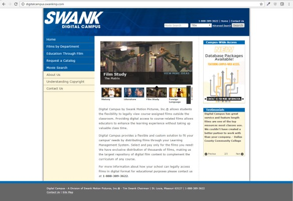 Screen shot of swank website