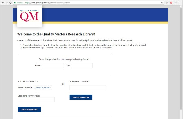 screen shot of the qm research library search page